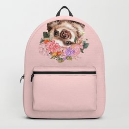 Baby Sloth with Flowers Crown in Pink Backpack