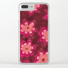 Burgundy Lace Rose Clear iPhone Case