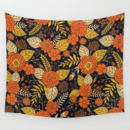 Retro Orange, Yellow, Brown, & Navy Floral Pattern Wall Tapestry