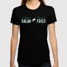 Side Salad or French Fries Womens Fitted Tee Black MEDIUM