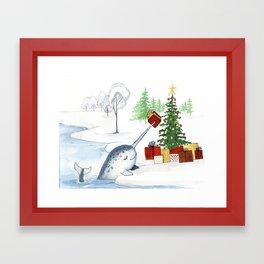 Christmas Narwhal Framed Art Print