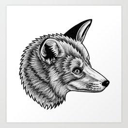 Red fox - ink illustration Art Print