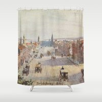 broadway Shower Curtains featuring Vintage Broadway NYC Artwork (1840) by BravuraMedia