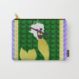 Retro Mermaid Texture Print in Green, Peach, Lavender and Lime Carry-All Pouch