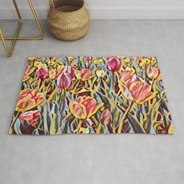 English Garden with Tulips in Rochester, New York Rug