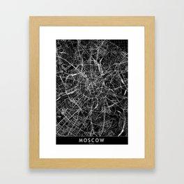 Moscow Black Map Framed Art Print