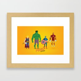 Super Heroes - Pixel Nostalgia Framed Art Print