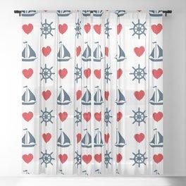 Nautical love Sheer Curtain
