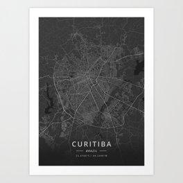Curitiba, Brazil - Dark Map Art Print