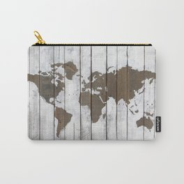 Rustic World Map Art on Upcycled Palette Wood Carry-All Pouch