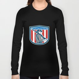American Patriot Minuteman Holding Musket Rifle Shield Retro Long Sleeve T-shirt