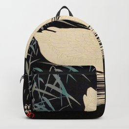 Two Swans Japanese Woodblock Print Vintage Historical Japanese Art Backpack