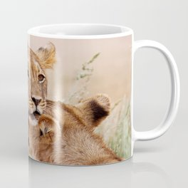 Two young lions - Africa wildlife Coffee Mug