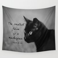 da vinci Wall Tapestries featuring Leonardo da Vinci Cat Quote by KimberosePhotography