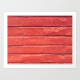 Red brick painted outdoors wall Art Print