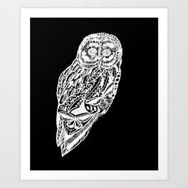 black and white prints of owls Art Print