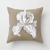 iris Throw Pillows featuring Iris  by Mich Li