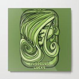 Luscious Locks - Green Metal Print