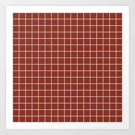 Burnt umber - brown color - White Lines Grid Pattern Art Print