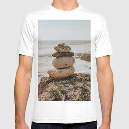 Earth tones colored Cairn | Art Print of stones on the rocks Portuguese Coastline | Portugal T-shirt