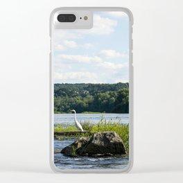 White Crane Clear iPhone Case