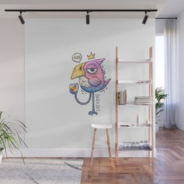 Bird Drinks From Glass Birdie With Haughty Look Wall Mural