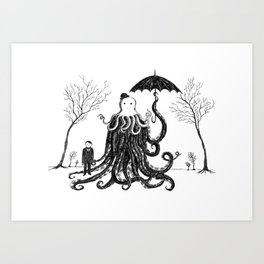 Young Master Lovecraft Finds A Friend Art Print