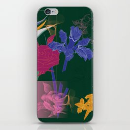 Dark Fall Flower Pattern for Home Goods Emerald Green Magenta iPhone Skin