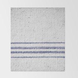 Vintage Farmhouse Grain Sack Indigo Blue Throw Blanket