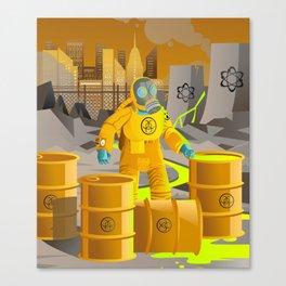 biohazard suit man with barrels near nuclear meltdown in powerplant Canvas Print