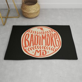 Hand Drawn Baseball for Baltimore with custom Lettering Rug