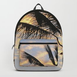 Palm trees sunset sky with orange clouds Backpack