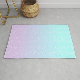 Turquoise and Lavender Pastel Bokeh Effect Ombre Rug