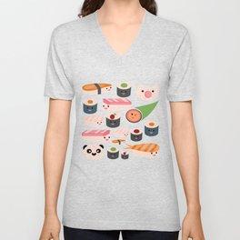 Kawaii sushi teal Unisex V-Neck