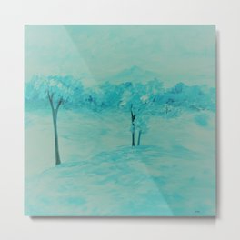 Teal Abstract Landscape Metal Print
