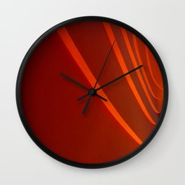 White and Red with lines Wall Clock