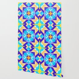 Geometric Tribal Mandala Inspired Modern Trendy Vibrant (Blue, Cobalt, Yellow, Orange, Purple) Wallpaper