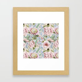 Vintage & Shabby Chic Floral Peony and Iris Flowers Watercolor Pattern Framed Art Print