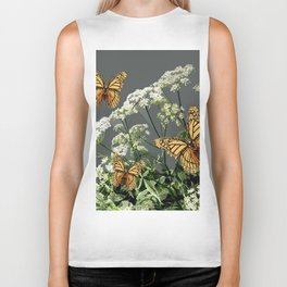 """CREAM COLORED BUTTERFLIES """"SPRING SONG"""" LACE FLOWERS Biker Tank"""
