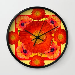 YELLOW-RED POPPIES GARDEN ART YELLOW PATTERNS Wall Clock