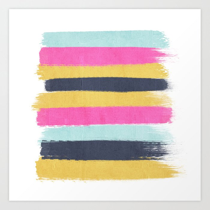 Sacha Stripes Painting Boho Color Palette Bright Happy Dorm College Abstract Art Art Print By Charlottewinter