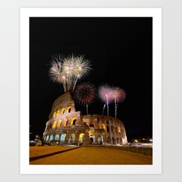 Colosseum illuminated with fireworks in Rome. Art Print