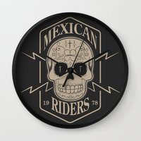 mexican Wall Clocks featuring mexican riders by Taranta Babu