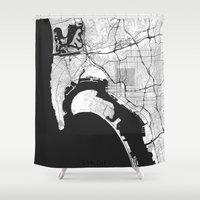 san diego Shower Curtains featuring San Diego Map Gray by City Art Posters