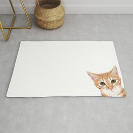 Peeking Orange Tabby Cat - cute funny cat meme for cat ladies cat people Rug