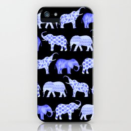 Blue Happy Elephants - Black background iPhone Case