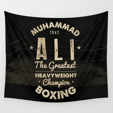 Boxing Ali Canvas Wall Tapestry