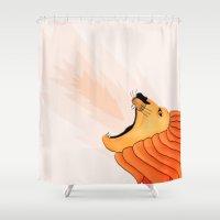 lion Shower Curtains featuring Lion by Nir P