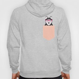Kamri - Siberian Husky with Pink Hipster Glasses, Cute Retro Dog, Dog, Husky with Glasses, Funny Dog Hoody