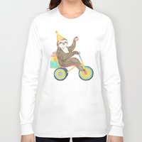birthday Long Sleeve T-shirts featuring birthday sloth by Laura Graves